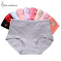 Zoe Saldana 2017 5 Pcs/Lot Mid-rise Panties Underwear Women Cotton Briefs Cute Solid Panty For Women Underwear Panties