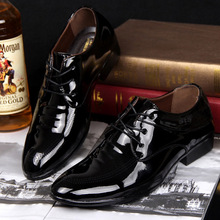 2017 Spring New Arrival Fashion Men Patent Leather Dress Shoes Pointed Toe Lace-up Breathable Casual Single Shoes Big Size 38-44 2017 new spring fashion women s wedges single shoes round toe work formal shoes patent leather bow pumps single shoes v746