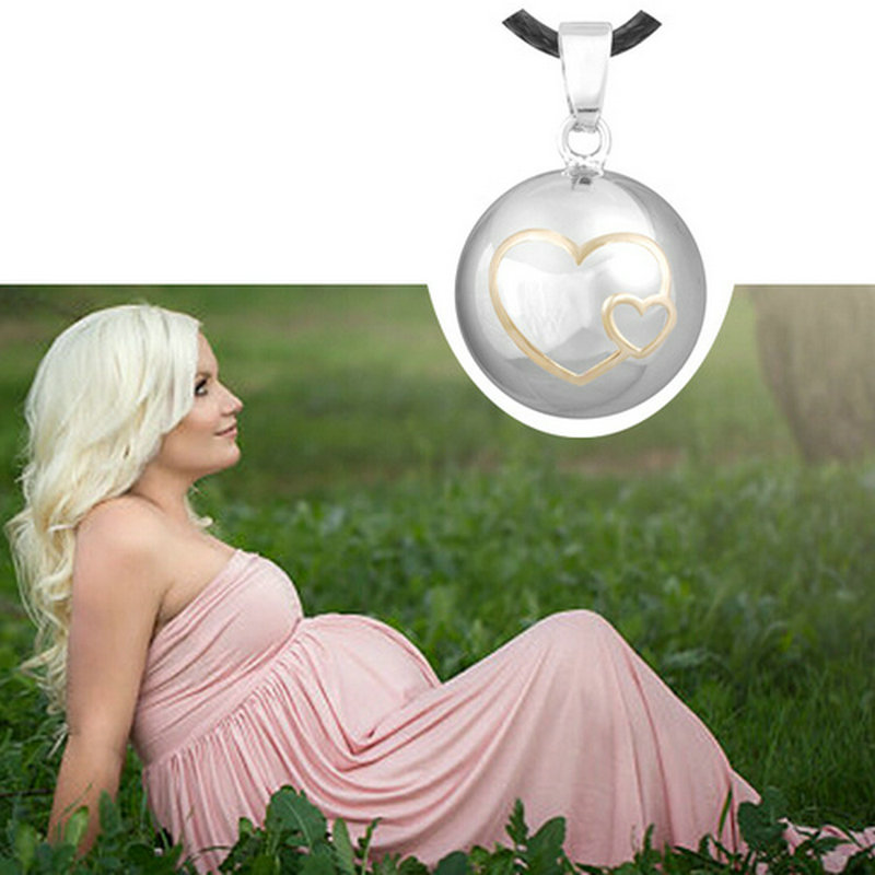 6PCS lot Lovely Hearts Maternity Pendant Music Sounds Wax Leather Necklace Fashion Copper Chime Ball Pendants