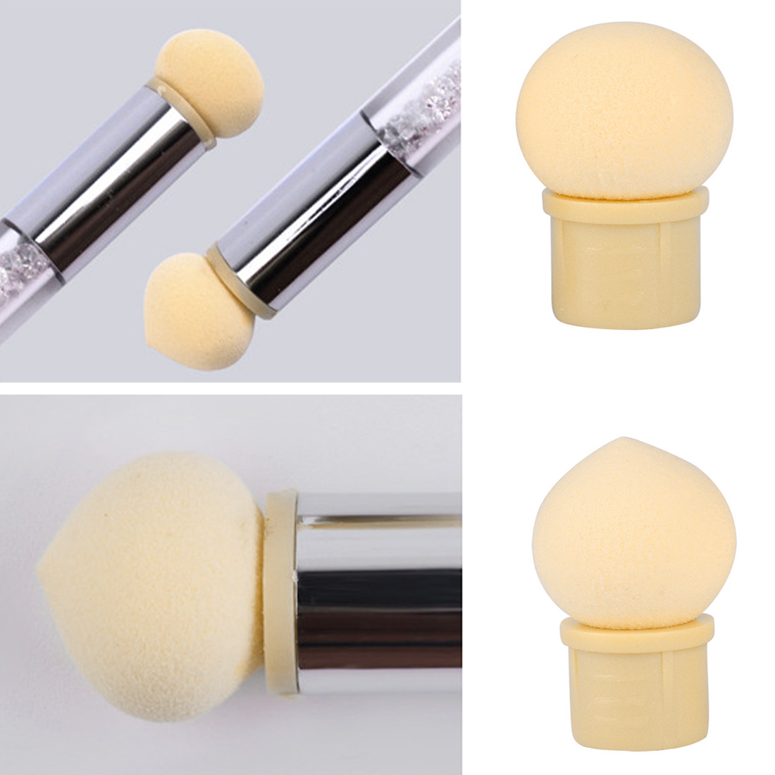 Reusable Double Gradient Printing UV Gel Manicure Smudge Pen Non-latex Sponge Head Replaceable Powder Accessories