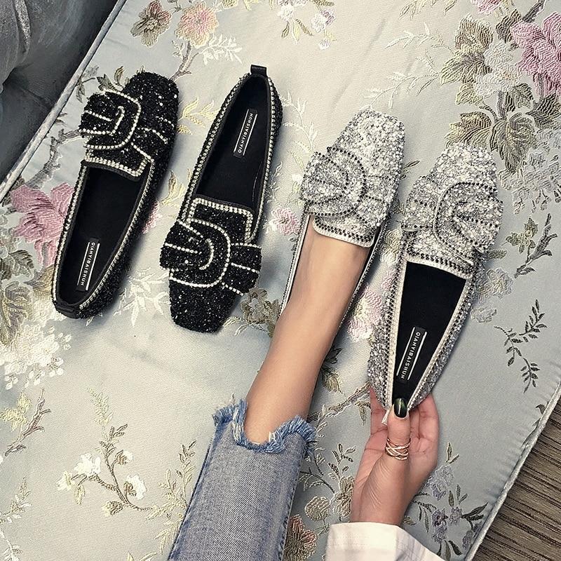 SWYIVY femme appartements Ballet chaussures arc automne 2018 luxe femme mocassins chaussures décontracté plat dame paillettes appartements pour femme