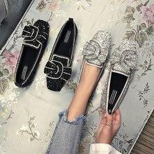 Swyivy Người Phụ Nữ Đế Bằng Ba Lê Giày Nơ Mùa Thu 2018 Cao Cấp Nữ Giày Loafer Kim Cương Giả Bằng Giản Nữ Kim Sa Lấp Lánh Căn Hộ Cho Người Phụ Nữ