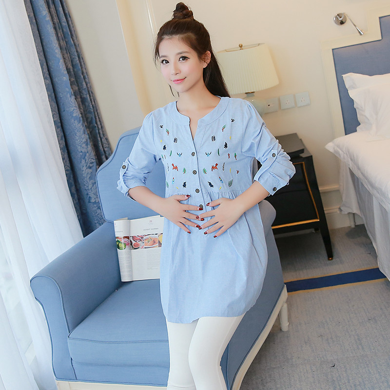 New 2018 Sexy V Neck Embroidery Cotton Maternity Shirt Spring & Autumn Blouse Tops Clothes for Pregnant Women Pregnancy Clothing simple v neck cap sleeve pure color spliced blouse for women