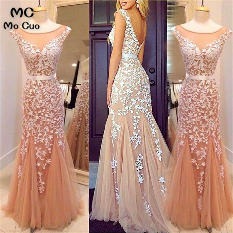 Promotion 2018 Evening Gown Cap sleeveRobe de soiree Scoop White Appliques Lace Champagne Long Party Evening dress for women