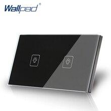 2 Gang 1 Way Interruptor Táctil EE. UU./AU Estándar Wallpad Pantalla Táctil Interruptor de La Luz de Cristal Negro Panel De Cristal Del Envío gratis