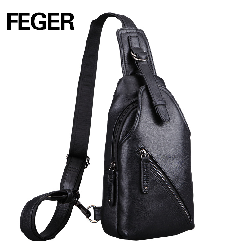 FEGER PU Magnetic Button Open Chest Bags Fashion Travel Crossbody Bag Men Messenger Bag Free Shipping jeep famous brand men chest bags theftproof magnetic button open fashion leather travel crossbody bag man messenger bag 8005