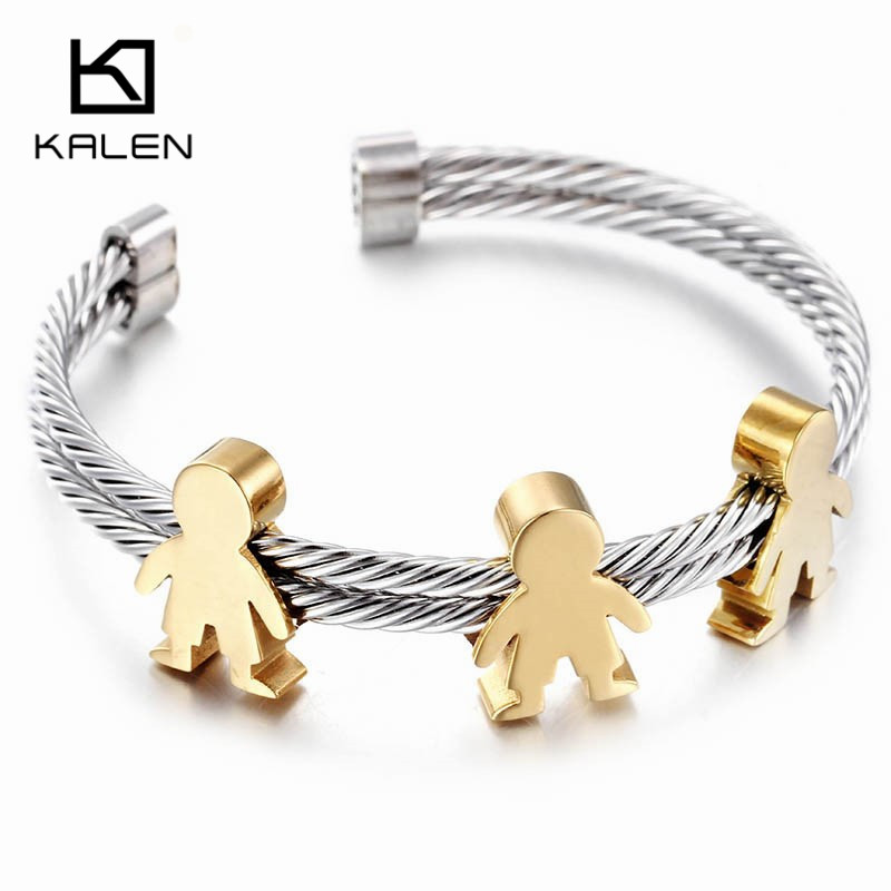 Kalen New Silver Color Bangles Stainless Steel Children Cuff Bangles Bracelets Minimalist Jewelry Accessory Girls Birthday Gifts