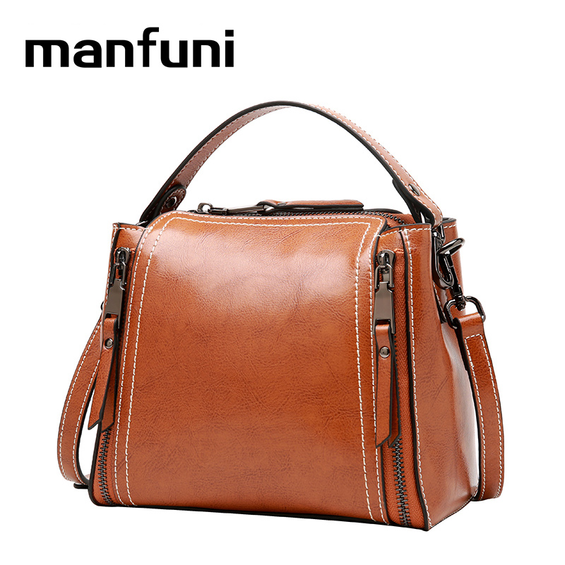 MANFUNI Genuine Leather Handbags Crossbody Bags For Women box Mini Shoulder Bag 100% vintage real Cowhide bag Double zipper 0906 genuine leather pebbled beckled women crossbody bags handbags shoulder bags