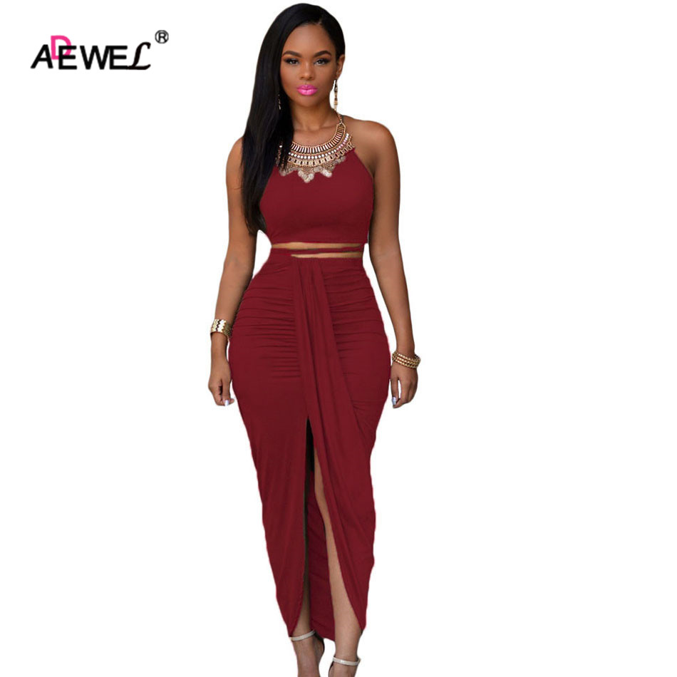 ADEWEL Vintage Party Cropped Top Maxi Skirt Set Halter Strapless Pencil Two Piece Dress Outfits Women Summer Dress