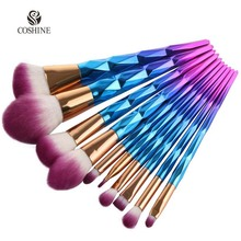Coshine New Arriveral 10pcs/set Rainbow Unicorn Oval Makeup Brush Set Professional Foundation Powder Cream Blush Brush Kits