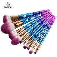 Coshine New Arriveral 10pcs Set Rainbow Unicorn Oval Makeup Brush Set Professional Foundation Powder Cream Blush