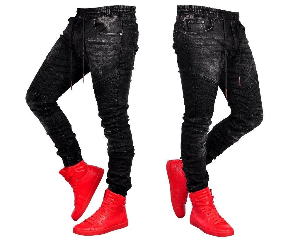 3e539bcfb8f 2019 европейские американские Складки Slim Fit джинсы мужские джинсы  Подиумные тонкие мото   байкерские джинсы модные