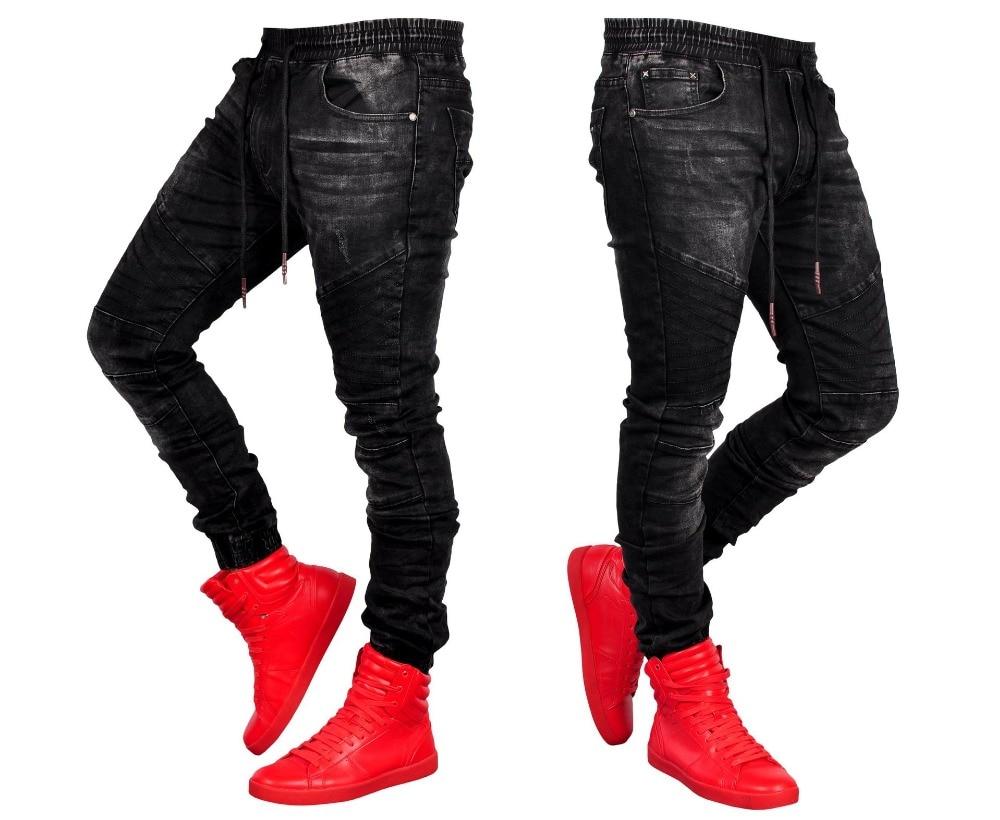 2019 European American Folds Slim Fit Jeans Men Jeans Runway Slim Moto& Biker Jeans Fashion Hiphop Skinny Black Jeans For Men