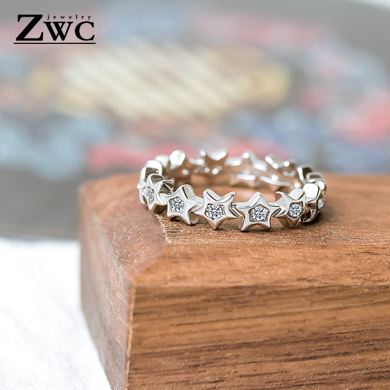 ZWC Rings Jewelry Zircon Crystals Star Stainless-Steel Wedding-Engagement Fashion Women