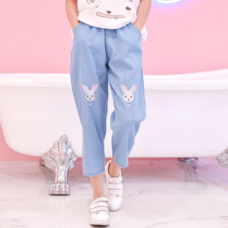Светло-синий темно-синий Kawaii Банни Джинсы с вышивкой Брюки для девочек Для женщин летние Повседневное прямые Брюки для девочек с карманами ...