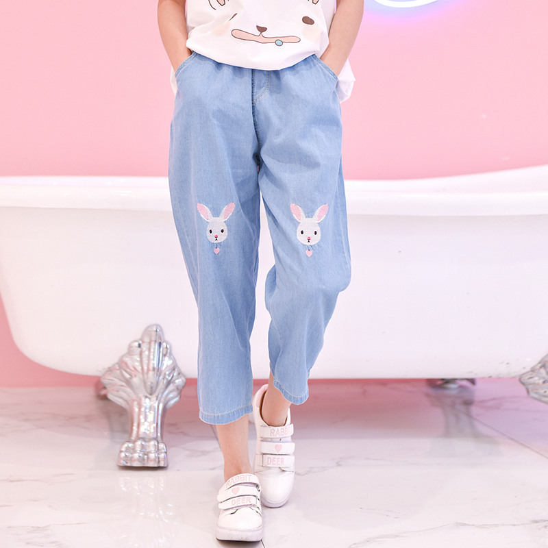Light Blue Deep Blue Kawaii Bunny Embroidery Jeans Pants Women Summer Casual Straight Pants With Pockets Fashion Ninth Pants