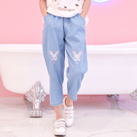Light Blue Deep Blue Kawaii Bunny Embroidery Jeans Pants Women Summer Casual Straight Pants With Pockets Fashion Ninth Pants