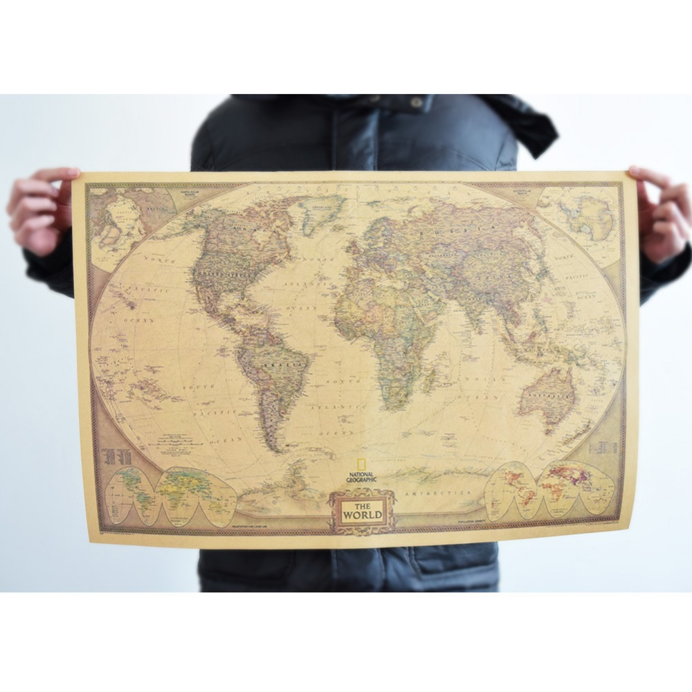 World Map Paper Posters Retro Vintage Style Retro in Wall Stickers ...
