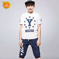 DOOLLEY Boy Summer Clothing Sets 2017 New Arrival Kids Fashion Suit Short Sleeve Tshirt + Shorts Size 120-160 cm