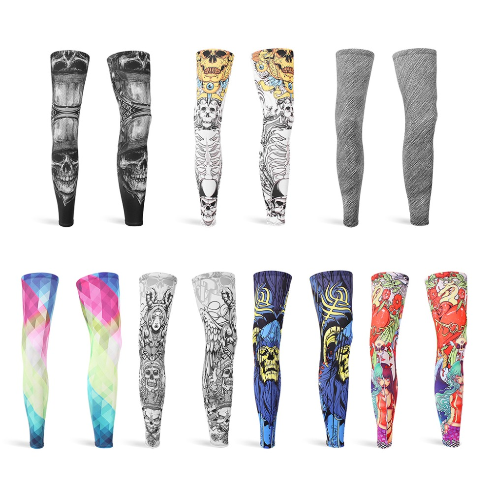 Unisex Full Length Compression Summer Ice Silk Leg Sleeves UV Protection Skull Graffiti Non-Slip Sports Basketball Long Sleeves