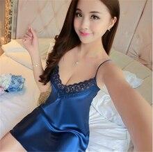 Ladies Sexy Silk Satin Night Dress Sleeveless Nighties V-neck Nightgown Free Size Nightdress Lace Sleepwear Nightwear For Women