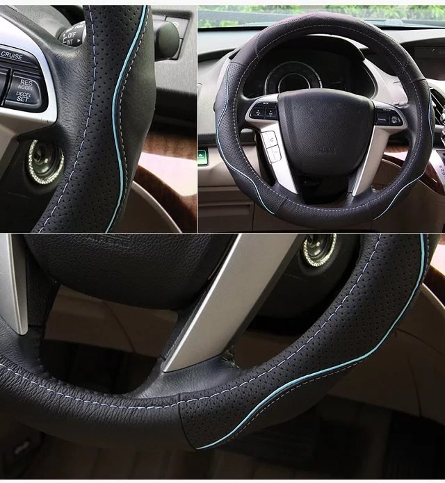 1pcs NEW 15 38CM Leather Car Steering Wheel Protective Cover Auto Steer Wheel Cover