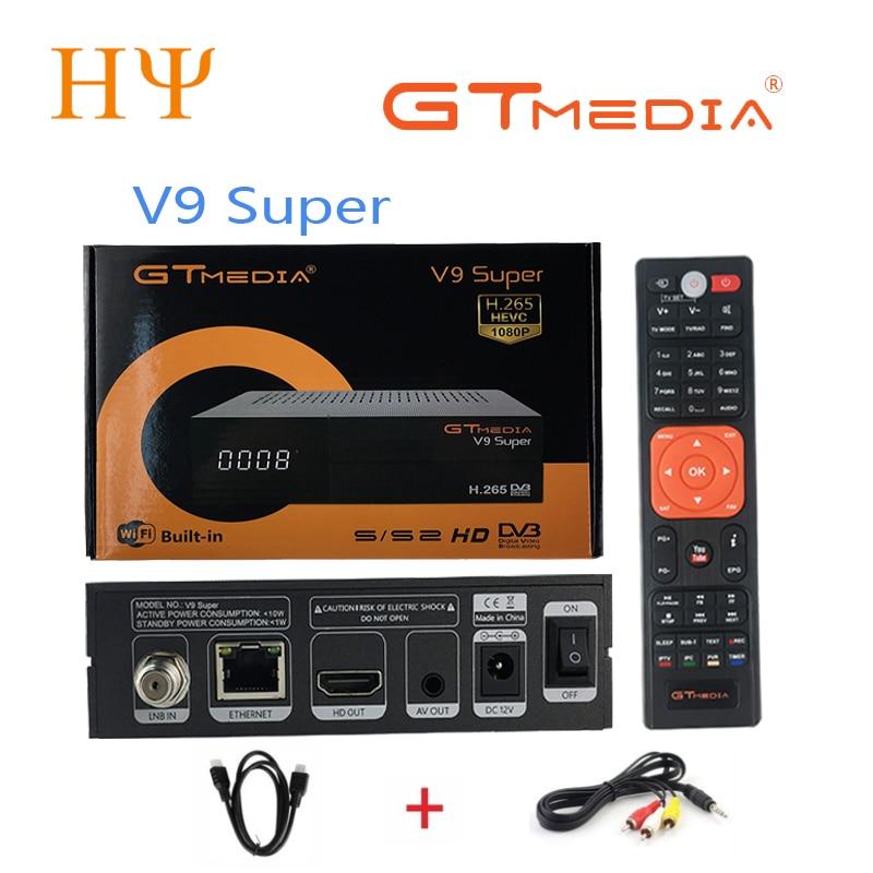 10PCS/Lot GTMEDIA V9 super Satellite TV Receiver DVB S2 Support Built-in WIFI Ethernet better freesat v8 super gtmedia v8 nova [genuine] freesat v8 super