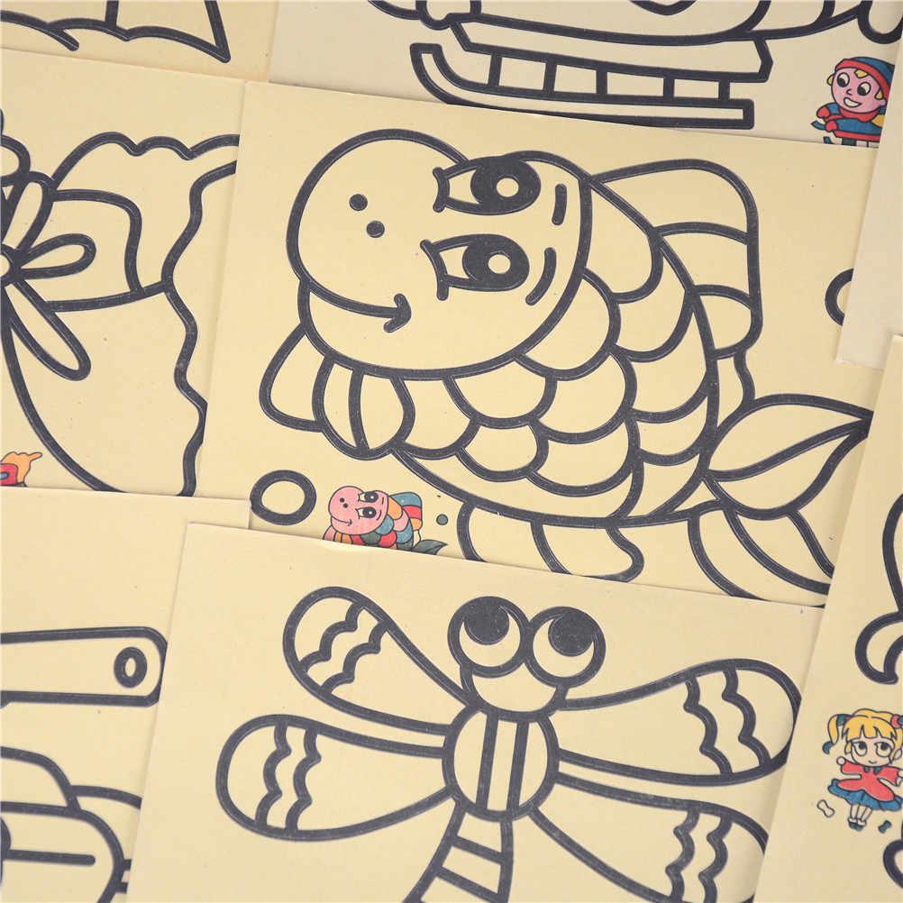 5 imágenes unids/lote, juguetes de dibujo educativo para manualidades de chico DIY para niños, regalo, pintura en arena, juguetes de dibujo de chico s para niños