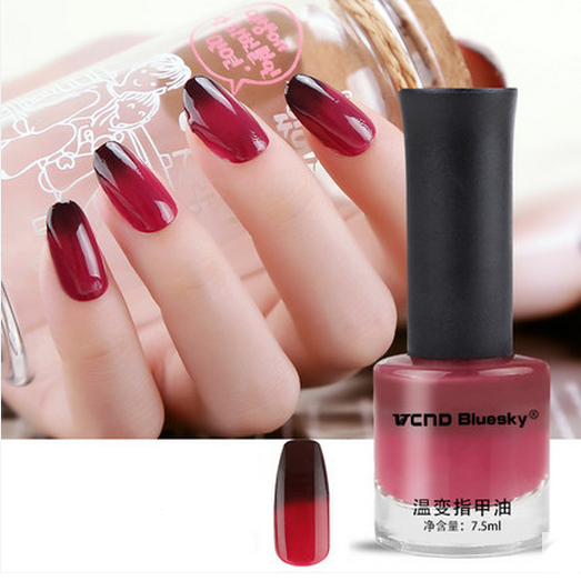 1 Bottle 7 5ml Thermal Nail Polish Dark Red Temperature Color Changing Art