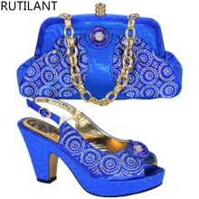 Blue Color Shoes and Bag Set Decorated with Diamonds High Quality Nigerian Shoes  and Bag Set for Women Wedding Shoes Bag Sets 4de6c3266987