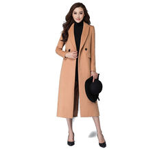 Thick Outwear 2016 Winter Fashion Ladies Ultra Long Windbreaker Double Breasted Wool Jacket Coat Plus Size Female Overcoat