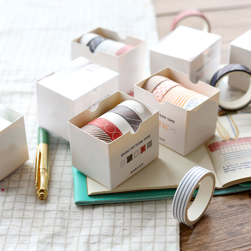 5Pcs box Basic Graphics Masking Washi Tape Set Creative DIY Decorative Adhesive Tape Sticker Scrapbooking Stationery Supplies in Office Adhesive Tape from Office School Supplies