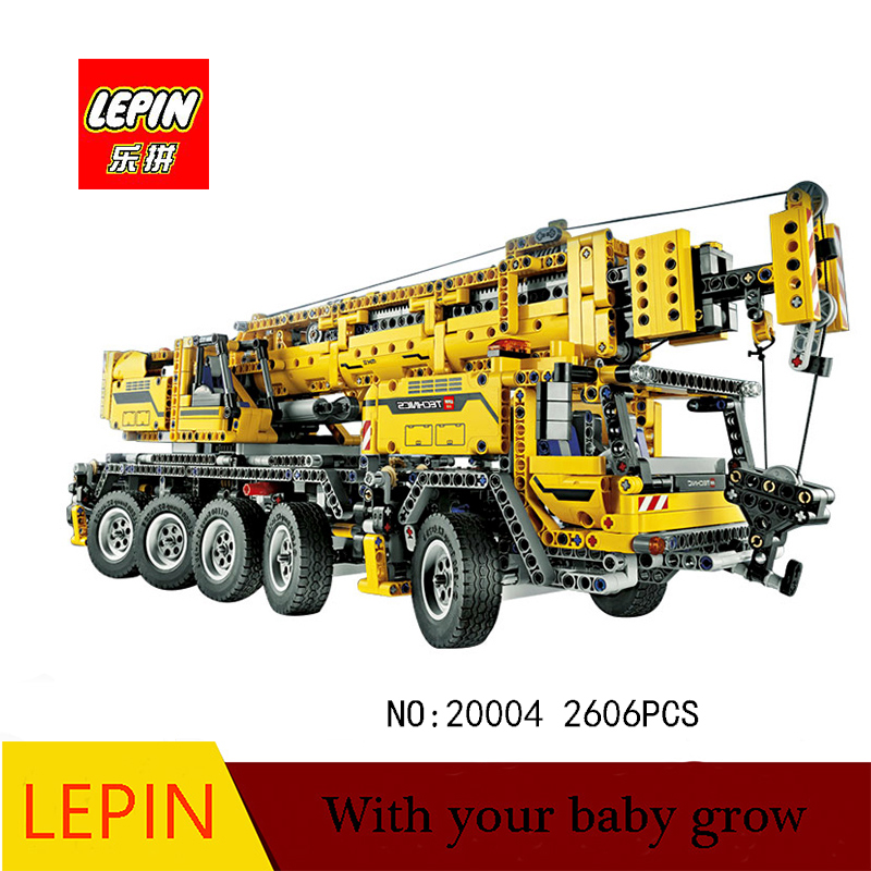 DHL Lepin Technic Series Lepin 20004 Motor Power Mobile Crane Mk II Model Building Kits Blocks Bricks Compatible 42009 a toy a dream lepin 15008 2462pcs city street creator green grocer model building kits blocks bricks compatible 10185