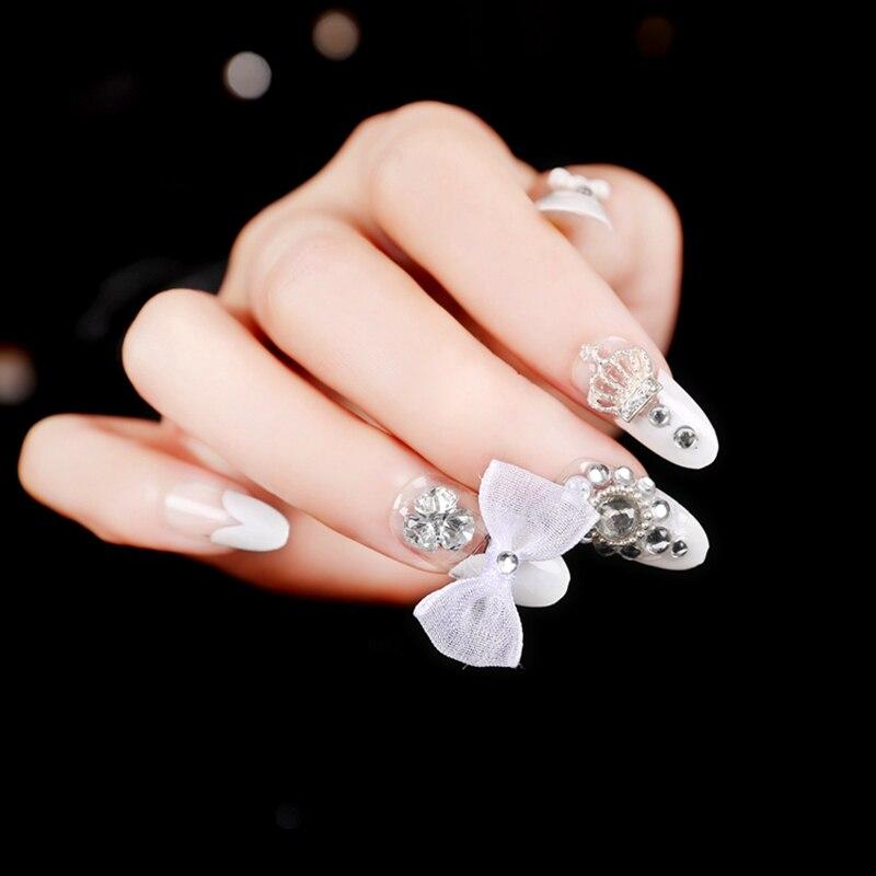 French White Heart Shape False Nails Art Tips Artificial Acrylic ...
