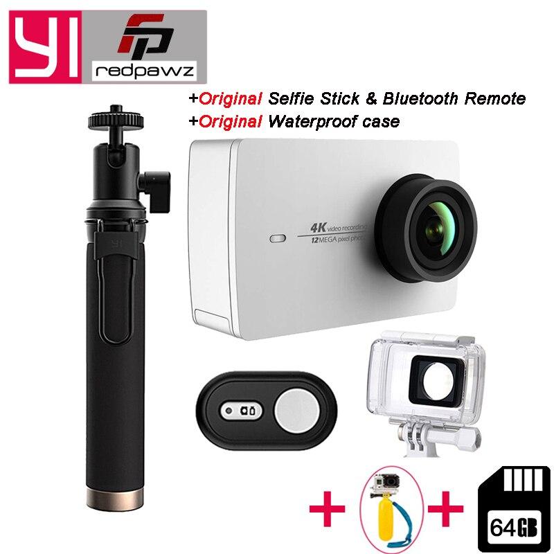 Ajoutez 64 gb Carte SD pour Xiaomi YI 4 k Caméra D'action Ambarella A9SE BRAS 4 k/30 2.19 Écran Retina HD IMX377 12MP 155 Degré L'EIE PMA