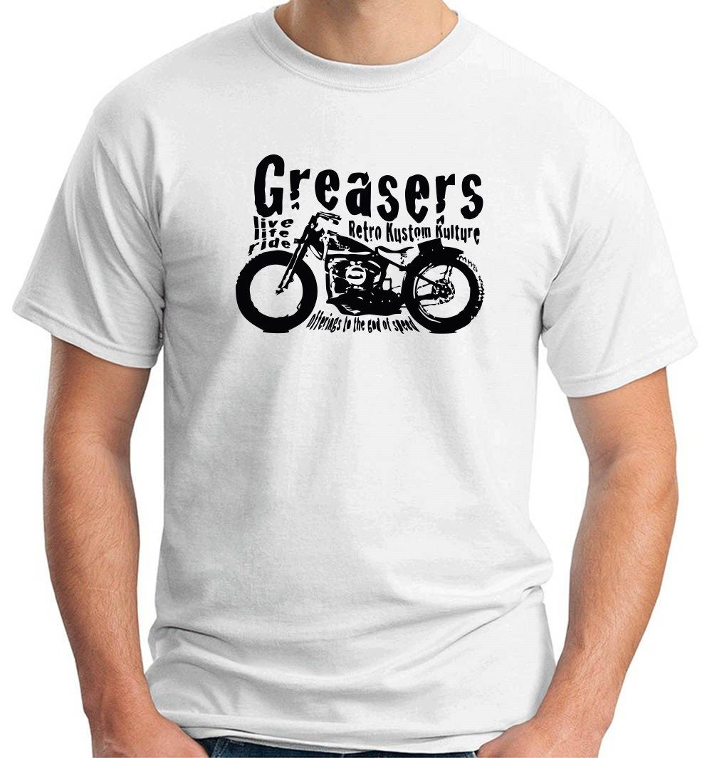 2018 New Hot Sale Men T-shirt T-shirt WC0381 Greasers Live Rock and Roll Motorcycle T-shirt