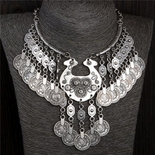 SHUANGR Bohemian Vintage Chunky maxi Statement Necklaces for Women Exaggerated Silver Color Coin Choker Necklaces&Pendants