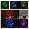 Frete Grátis Cool boy kid presente 3D Luz Atmosfera Noite avião Chifre Lâmpada Mudança de 7 Cores Amigo Da Família Criança UFO decoração
