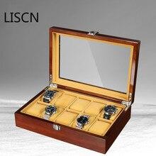 Новая 10 сетка деревянная коробка для часов организатор хранения данных ювелирных изделий дисплей высокоград подарок Ретро Роскошный футляр для наручных часов деревянная коробка для часов
