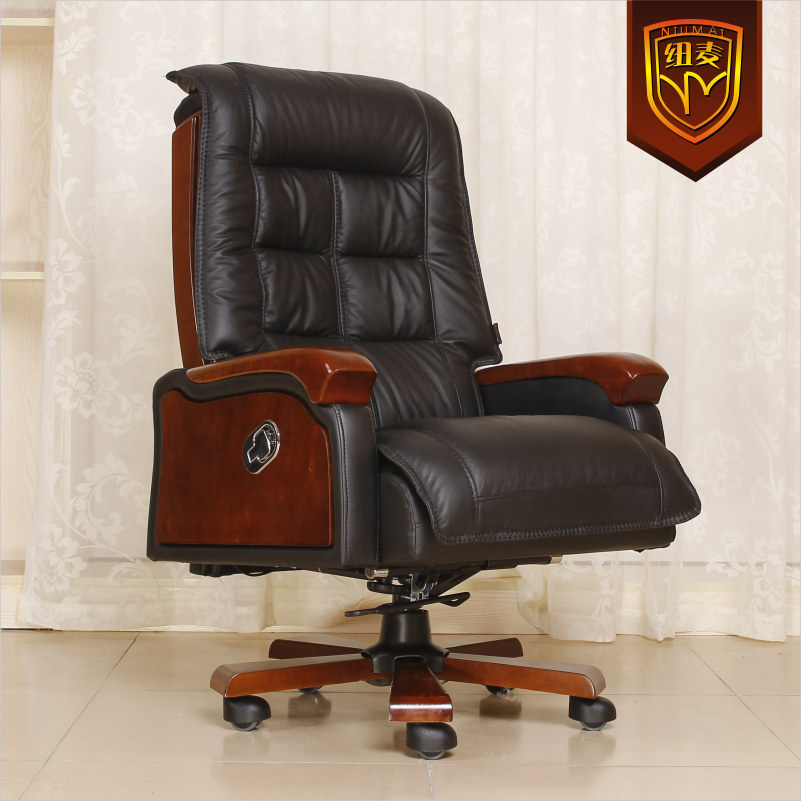 Niumai Reclining Leather Chairs Leather Office Chair Double Cushion Foot  Wood Swivel Chair Computer Chair On Aliexpress.com | Alibaba Group