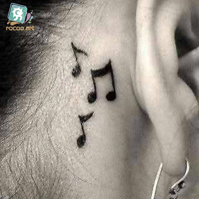 Online Shop Hc 17 Women Sexy Shoulder Temporary Tattoo Musical Notes