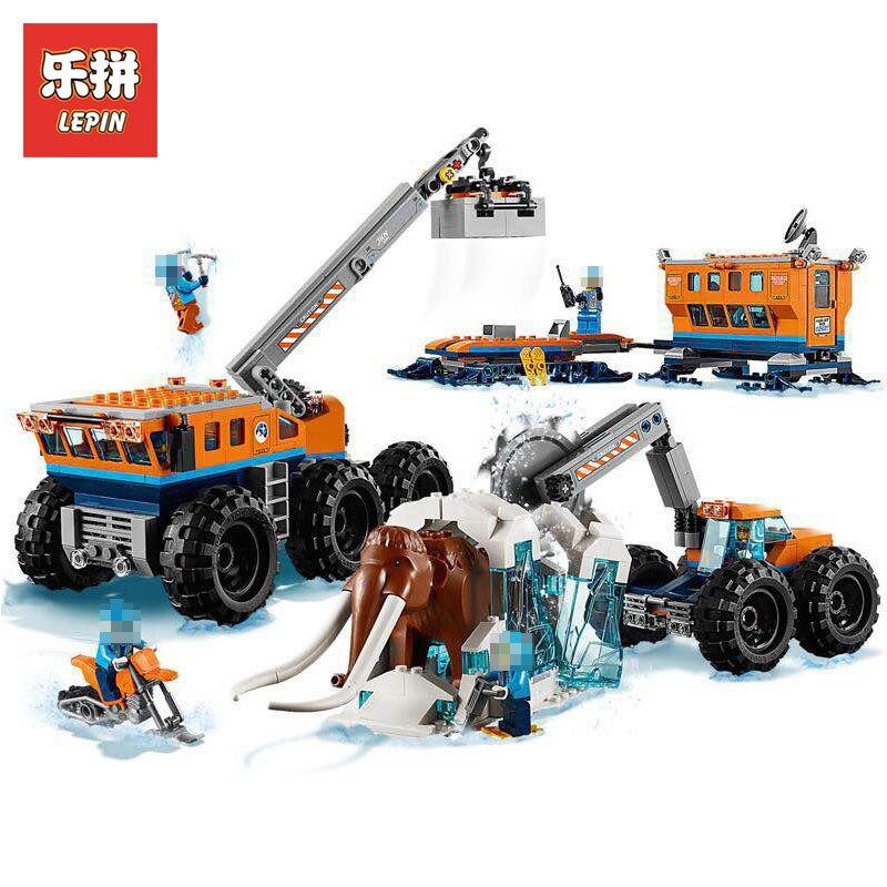 цена на Lepin 02111 880Pcs City Figures Arctic Mobile Exploration Base Model Building Kits Blocks Bricks Set Toys Gift Compatible 60195