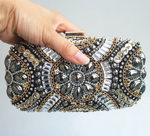 (Stock ) Super Luxury Popular Women Heavy Diamond Beaded Evening Bags Clutch Purse/Bling Bag Gold Metal Mini Hard Case for Party