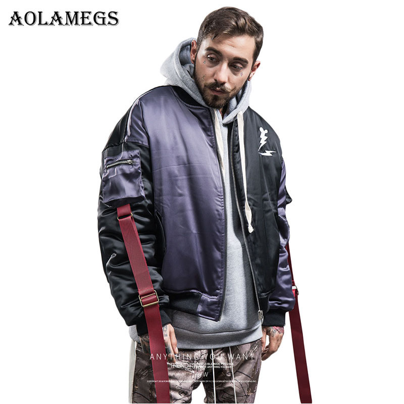 Aolamegs Jackets Men Hit Color Patchwork Ribbon Pullover Jacket Pocket Tracksuit Fashion Coats Hip Hop Male Streetwear Autumn