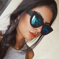 ff1e6c7b9 Retro Big Frame Cat Eye Sunglasses Women Brand Designer Fashion Blue Silver  Mirror Sunglasses 2018 Female