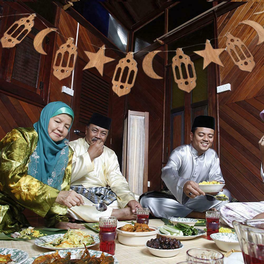 Moon Lantern Star Crafts Hanging Decorations Eid Ramadan Mubarak Wooden Decorations Home Hanging Moon Lantern Star Crafts