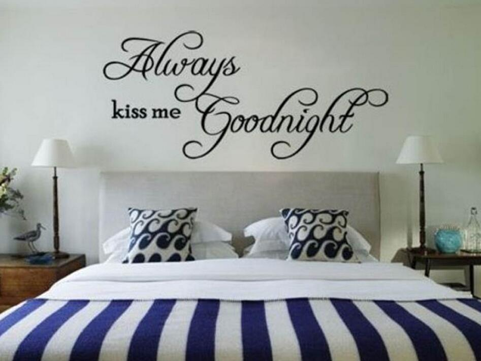 ALWAYS KISS ME GOODNIGHT Love Wall Decals Quote Wall Decorations ...
