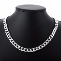 Men S Jewelry 20 Width 10mm Flat Necklace 925 Sterling Silver Fashion Charm Thick Side Chain