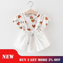 Girls Ruffle Outfits Clothes Set for Girl Cotton Fashion Suit Baby Tracksuit Overalls Korean 1year Kids Summer Boutique Clothing цена и фото
