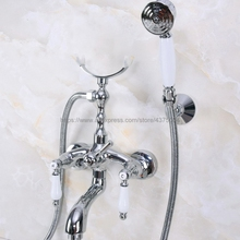 Polished Chrome Bathtub Faucet Wall Mount Handheld Bath Tub Mixer System with Handshower Telephone Style Nna249